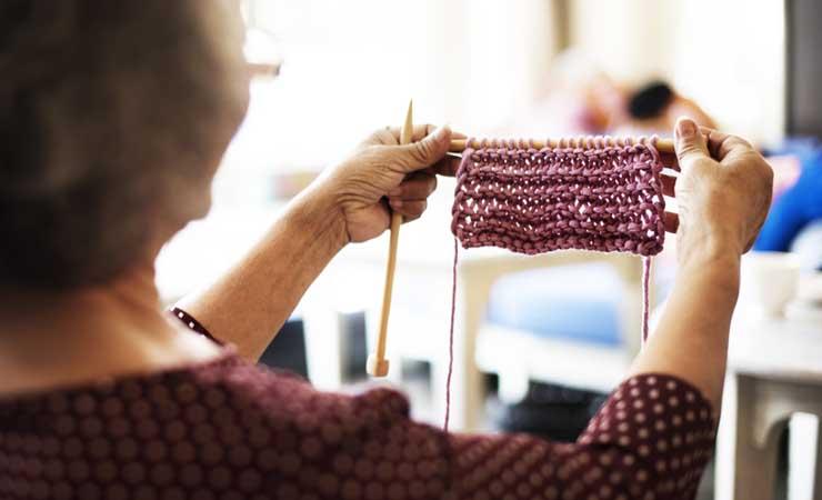 Admiring knitting