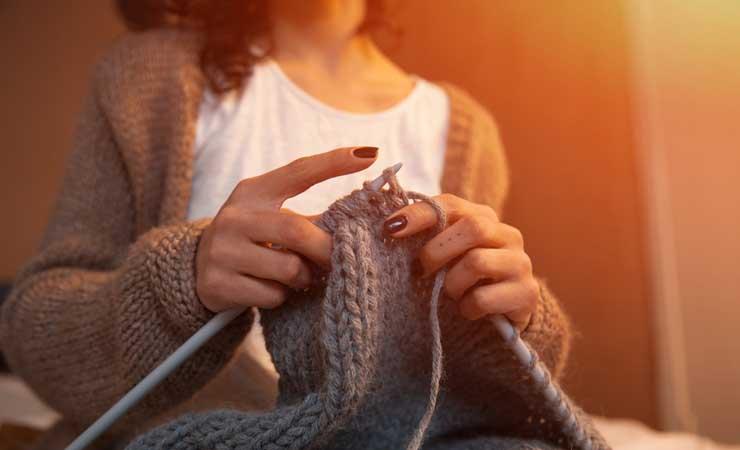 Enjoying knitting