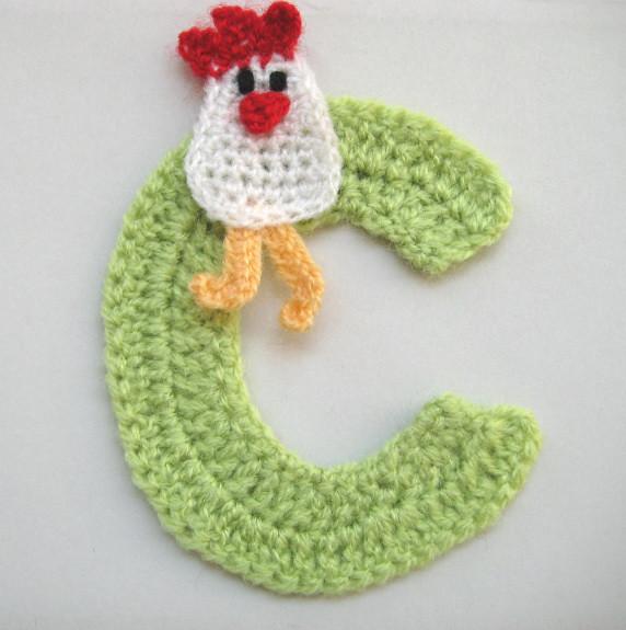 Appliqué chicken on letter  C