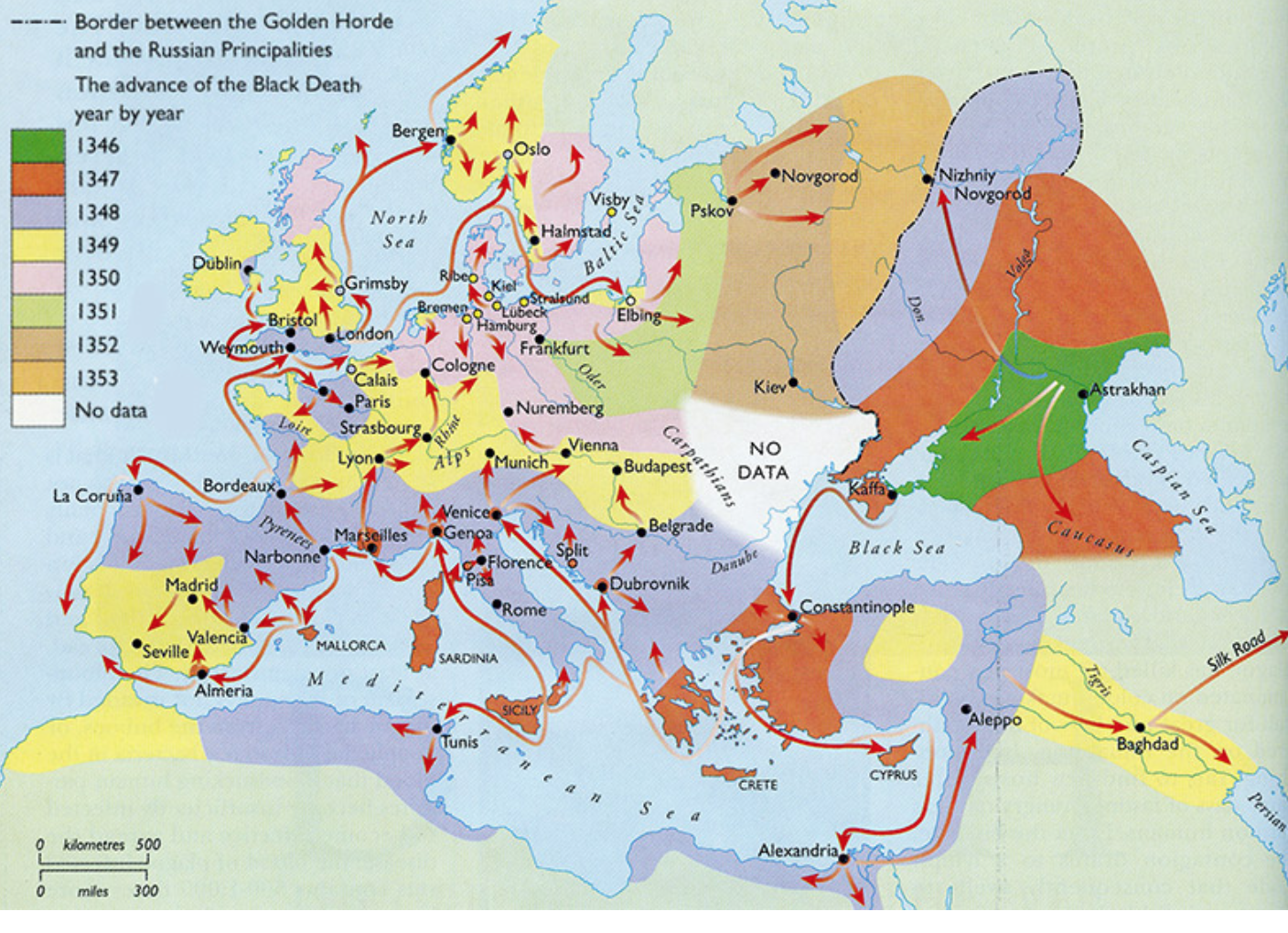 Map showing spread of bubonic plague